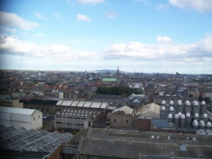 The view of the Dublin Skyline from the Skybar at the top of the Guinness Factory