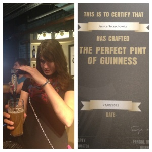 I'm certified to pour a perfect pint of Guinness!
